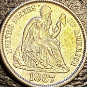 1887 Usa Seated Liberty Dime - Au Cond. - Variety 4 - 0.900 Silver - Km A92