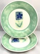 Pier 1 England Angleterre Periwinkle Salad Plates Pair 2 8-1/8 Green Blue