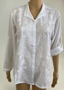 Womenand039s Cotton Long Sleeve Embroidered Button Down Shirt White Size Xxl Nwt