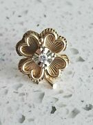 Antique 14k Yellow Gold And Diamond Shamrock Four Leaf Clover Lapel Pin 2.4g