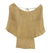 Inc Petites Size M Gold Metallic Batwing Knit Blouse Top Nwt Off-the-shoulder