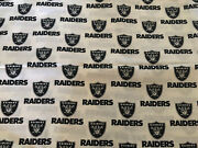 Oakland Raiders Nfl Fabric 100 Cotton Bty Near 2 Yards Vintage Andlsquo06 Rare Oop New