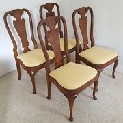 Henredon Burled Walnut Dining Chairs Folio Four Queen Anne Style Vintage 1960and039s