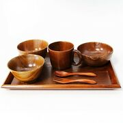 Kids Tableware Set Natural Wood Lacquered Urushi Bowl Cup Tray Spoon Fork