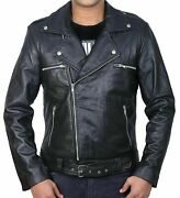 Negan Walking Dead Jeffrey Dean Morgan Black Biker Real Leather Jacket