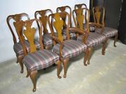 Set Of 8 John Widdicomb Solid Mahogany Queen Anne Style Dining Chairs