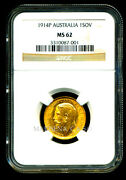 Australia 1914 P Gold Coin Gv Sovereign Ngc Certified Genuine Ms 62 Amazing
