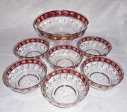 Vintage Italian Venetian Cranberry And Gold Decorated Glass Fruit Bowls Set