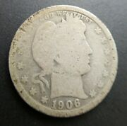 1906 O Barber Quarter - Good G Conditiony Visible In Liberty Original Surfaces