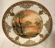 Antique Nippon Hand Painted Enamel And Raised Gold Plate - 8.6
