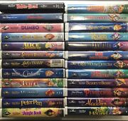 Complete Set Lot 24 Disney Animated Classic Vhs Collection All Black Diamond