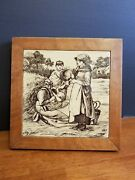 Antique Minton Tile China Works Family Farm Scene By William Wise Excellent Con.
