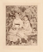 Auguste Renoir 1892 Edition Of 50 Etching Sisters On A Park Bench Framed Coa