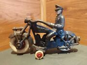Rare Vintage 7 Champion Cast Iron Toy Police Motorcycle Cop Circa 1930and039s-40and039s