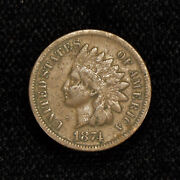 1874 1c Indian Head Small Cent, Vg+ Semi-key Date Coin Loty584