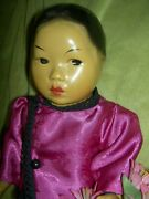 Very Rare Composition Oriental Asian Hoo Choy Chinese Doll Lovely Clothing