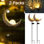 2 Pk Outdoor Solar Power Led Lights Patio Garden Yard Decor Moon Lamp Waterproof