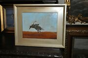 Vintage Original Rodeo Cowboy Bull Rider Oil Painting Listed Artist