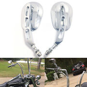 Chrome Motorcycle Parts Rearview Custom Mirrors For Harley Motorbikes Touring Us