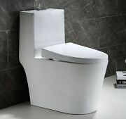 Hometure Dual Flush Elongated One Piece Toilet Comfort Height Soft Closing