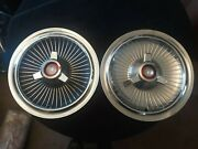 2 Vintage 1960and039s 65 Ford Mercury 15 Spinner Hubcaps C5ma-1130