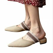 New Women Flat Heel Pointy Toe Elastic Slip On Backless Mules Breathable Shoes L