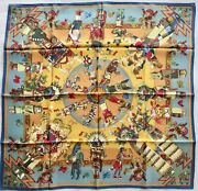 Hermes Kermit Oliver Kachinas Scarf With Box 36 Mint Vintage Condition