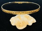 14k Yellow Gold 5.80mm Etched Hawaiian Floral Maile Lei Bracelet Bangle 21.2gram