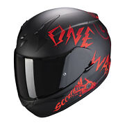 Scorpion Casque Exo-390 Oneway Black Red Moto Scooter Route