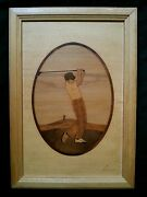 Vintage Marquetry Wood Inlay Picture Golfer By Nelson
