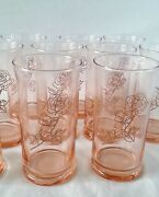 Vintage Libbey Rose Glass Water Glasses [set Of Twelve] 5.3 Inches