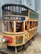 Vintage French Wood And Cast Iron Double Decker Street Trolley Display Model 26