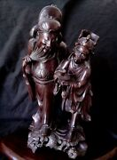 Antique Highly Detailed Chinese Wood Carving 18th Century 16 Tall Very Heavy