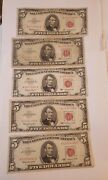 1963 Five Dollar Bill 5 Red Seal United States Currency Vg Lot Of 5 Fancysz