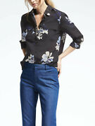 Banana Republic Easy Care Dillon-fit Floral Utility Shirt Polyester Size L Nwt