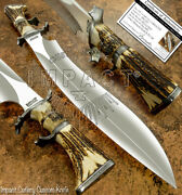 Impact Cutlery Rare Custom D2 Huge Monster Sasquatch Bowie Knife Stag Antler