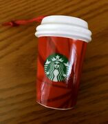 Starbucks 2014 Limited Ceramic Red Hot Cup Christmas Ornament New