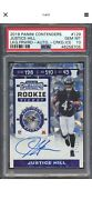 2019 Panini Contenders Justice Hill Cracked Ice Rc Auto /23 Psa 10