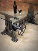 Cast Iron Crank Table Machine Base Dining Table Industrial Drafting Desk