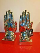 Three Hands Corp. Decorative Praying Hand Bookends Silver Toned
