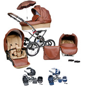 Baby Pram Classic Buggy Car Seat 3 In 1 Travel System Pushchair Stroller Leather