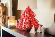 Vintage Style Stuffed Fabric 3d Christmas Tree Red Snowflake With Star