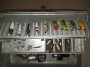 Vintage Metal Fishing Tackle Box With Lures And Reels