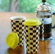 Mackenzie Childs Courtly Check Double-wall Travel Mug Tumbler Coffee Cup 1 Boxed