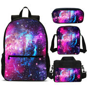 Space Galaxy Star Kids Students Backpack Insulated Lunch Box Pen Case Gift Lot
