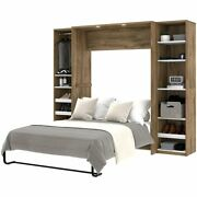 Bestar Cielo Classic 3 Piece Full Wall Bed In Rustic Brown And White