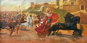 Gladiators Large 48x 24 Oil Painting On Canvas Genuine Hand Painted