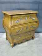 Vintage Baker Furniture French Country Oak Bombe 3 Drawer Chest Rococo Hardware