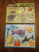 Melissa And Doug -lot Of 2- Zoo Animals Sound Puzzle And Sea Life Chunky Puzzle