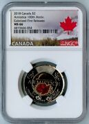 2018 Canada Ngc First Releases Ms66 Colorized 100th Anniversary-armistice 2